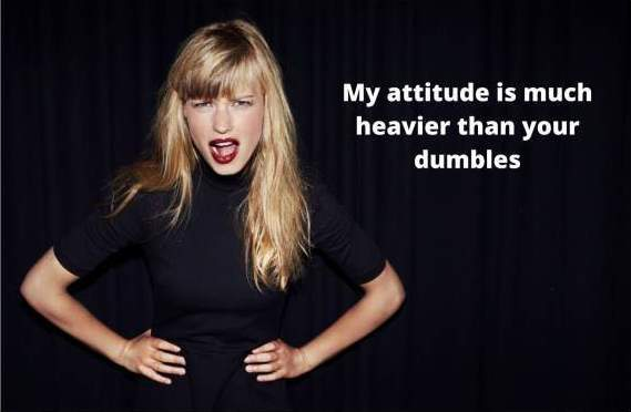 A women is wearing a black outfit is behaving crazy and on her righ an attitude quotes for girls is written