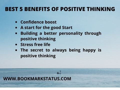 summarize key points of all five benefits of positive thinking with the background of the sea