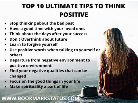 A women is sitting and on her left 10 tips to think positive in hindi is written