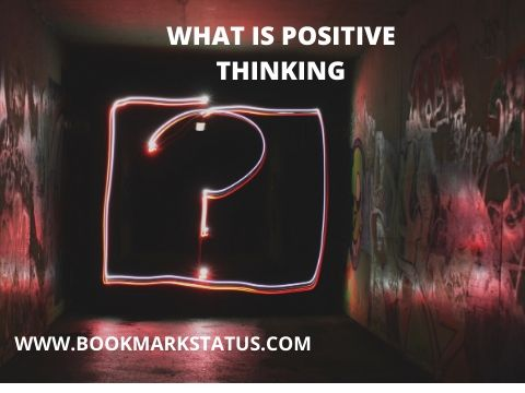 A question mark in the background with the question of positive thinking