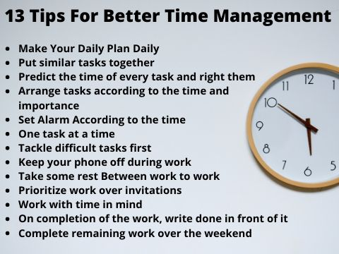 13 Time management tips step by step
