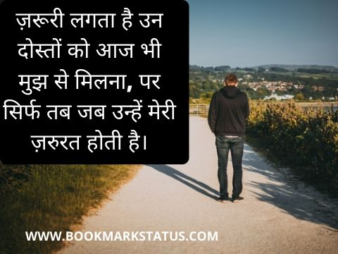matlabi dost status in hindi 2 line