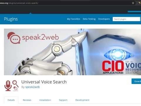 Universal Voice Search wordpress plugin